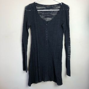Free People Size M Ribbed Sheer Long Sleeve Dress